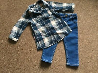 Girls River Island Mini Skinny Jeans & Trendy Checked Shirt Age 18 - 24 Months