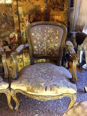 french salon loius armchairs pair