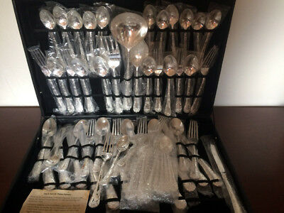 WM Rogers & Sons Vintage Silverplated Flatware 63 Piece Set Enchanted Rose Never
