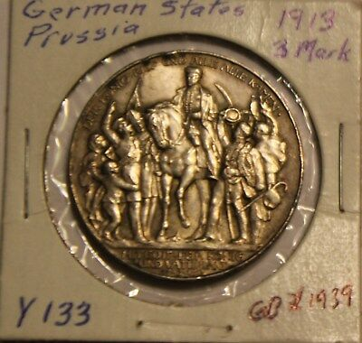1913 Silver German States Prussia 3 Mark Coin