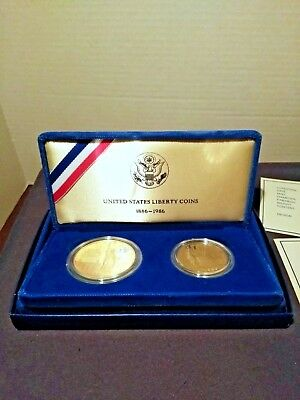 United States Liberty Coins 1886 1986 Commemorative 2 Coin Proof Set
