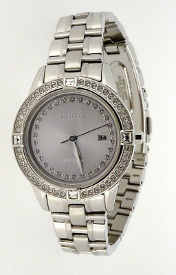 Citizen Ladies Watch Silver Dial Crystal Accents Stainless Fe1150-58H   Ct