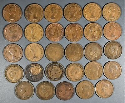 1940-1967 1 PENNY COINS GREAT BRITIAN UK  Lot of (29) Large Bronze Cents  A8015