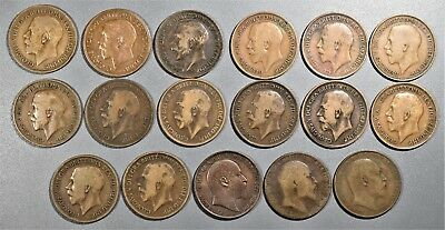 1903-1919 1 PENNY COINS GREAT BRITIAN UK  Lot of (17) Large Bronze Cents  A8013
