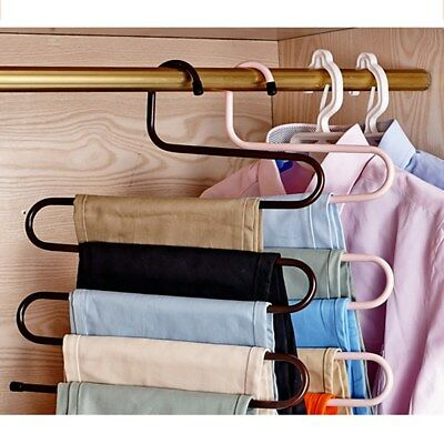 Multi-layer S-style Pants Hanger Stainless Steel Rack Space Saver for Tie Scarf