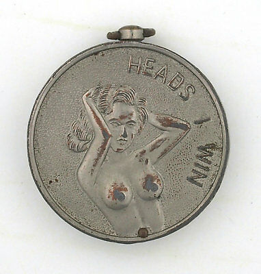 Vintage Heads I win Tails You Lose Hinged Sexy Girl Lucky Coin Holder