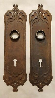 "Tudor Gothic Antique Door Plates (2) ""Westminster"" By Reading, C.1910 RARE"