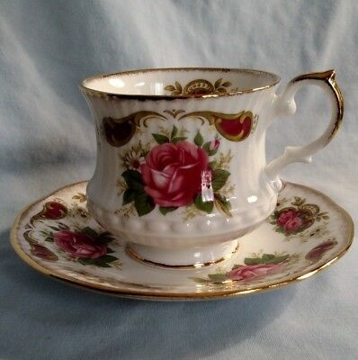 Rosina China Queens Cup and Saucer - Red Rose with Gold Trim