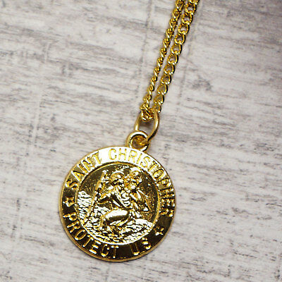 """Gold Plated St Christopher Pendant Mens Chain Womens Italy Necklace (16"""" to 40"""")"""