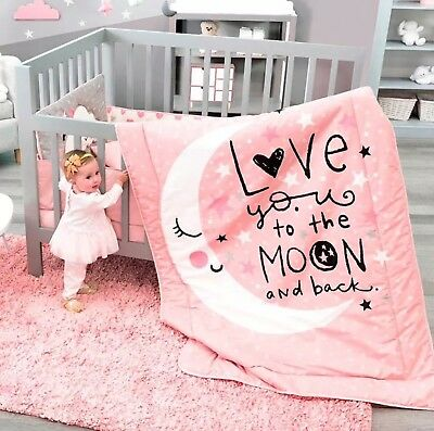 Moon And Stars Baby Girls Crib Bedding Nursery For Baby Shower  Gift 6 Pcs