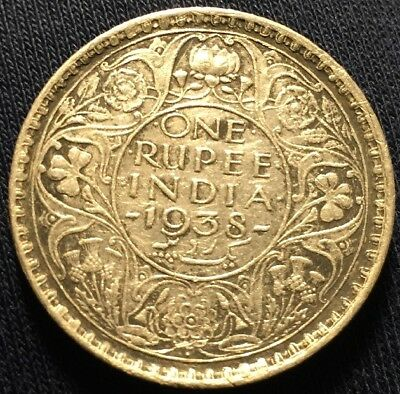 1938 British India One Rupee Bombay Mint Silver Coin Circulated - Scarce