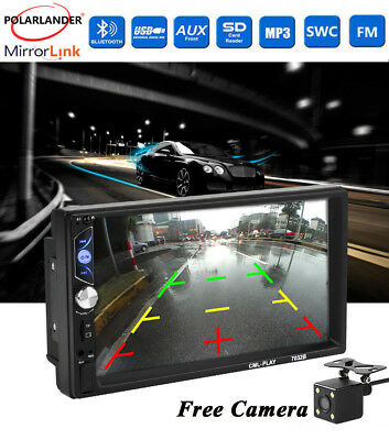 """Car Radio Touch Screen HD 7"""" USB/AUX/FM Bluetooth Stereo MP5 Player 2Din +Camera"""