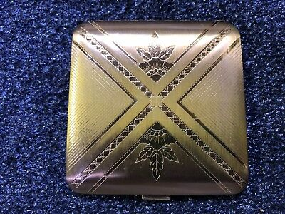 New Vintage Dorset Fifth Avenue Gold & Silver Compact Mirrored Powder Puff