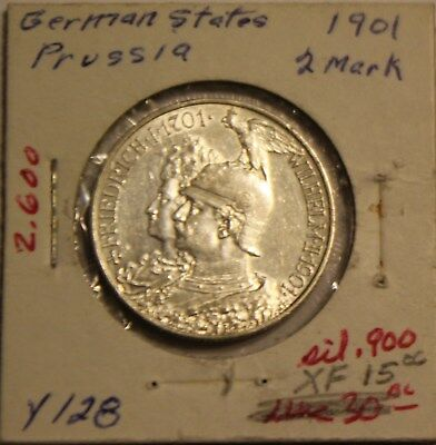 1901 German States Prussia 2 Mark Silver Coin