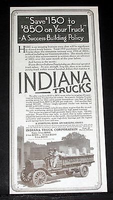 1918 Old Magazine Print Ad, Indiana Trucks, More Earning Power For Their Users!