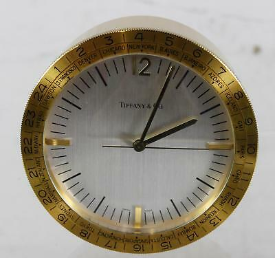 Tiffany & Co Atlas Brass Desk Clock Rare World Time Swiss Movement