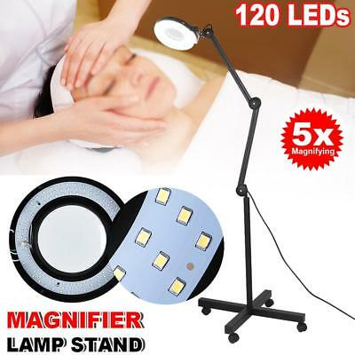 5x Magnifying Lamp Glass Lens 120 LED Illuminated Beauty Light Magnifier Stand