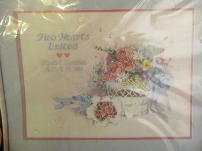 Vtg Dimensions Crewel Embroidery Wedding Flowers Basket Kit SEALED 1358