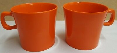 Vintage Nylex Bessemer Melmac Pair of Orange Mugs Made In Australia