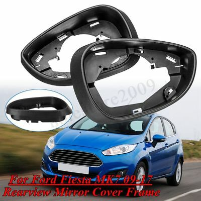 Pair Left&Right Side Rearview Mirror Cover Frames For Ford Fiesta MK7 2009-2017