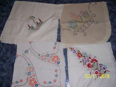 vintage 4 embroidered tablecloth GREAT FOR USE OR CRAFT