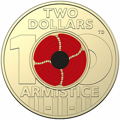 2018 Unc ARMISTICE DAY $2 Coin in a top qualitity self adhesive cardboard 2 x 2.