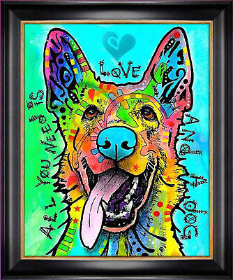 """""""Love and a Dog"""" Dog Art Giclee Print by Dean Russo - Framed Canvas"""