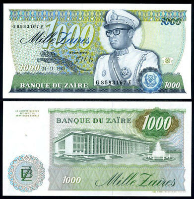 Zaire 1000 Zaires 24-11-1985 Pick 31.a UNC Uncirculated Banknote