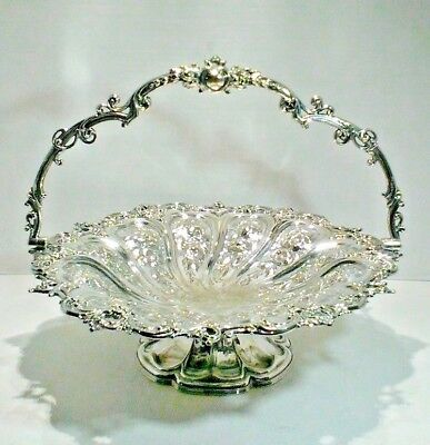 SUPERB ANTIQUE SILVER PLATE SWING HANDLE CAKE BASKET, c. 1800'S sTO EARLY 1900'S