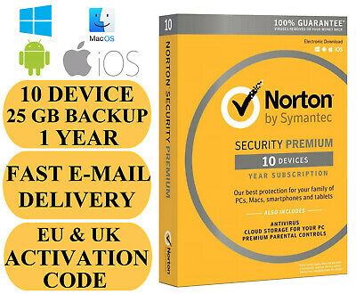 Norton Security Premium with 25 GB Backup 10 Device / 1 Year EU REGION Key 2019