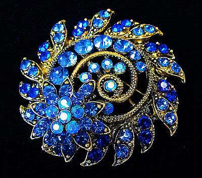3D SPIRAL Flower Rhinestone Brooch AB Blue Royal Blue Vintage Estate Style Bling