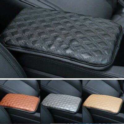 Universal Car SUV Armrest Pad Cover Auto Center Console Leather Cushion Black