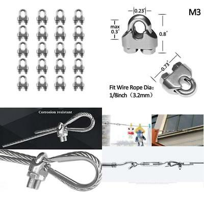 "M3 Stainless Steel Wire Rope Cable Clip Clamp 1/8""( 20Pcs )"