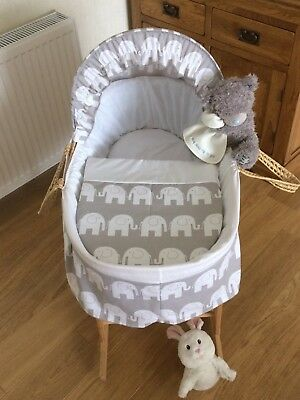 Moses Basket Cover Set Grey With White Elephant Border Design New