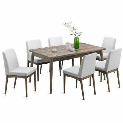 7 Pcs Dining Table Set Wooden Frame Desk & 6 Fabric Upholstered Chair Kitchen
