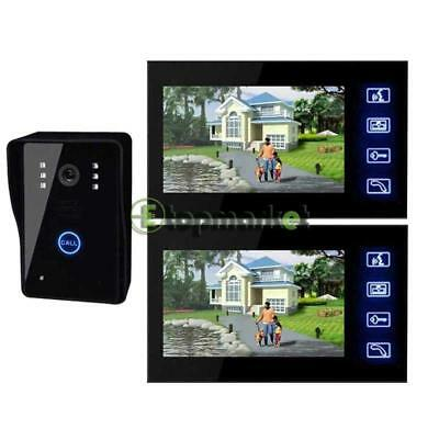"7"" LCD Color Video Door Phone Doorbell Home Security Intercom Kit + 2 Monitors"