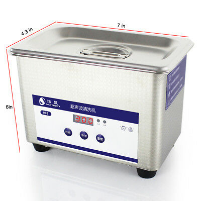 800ML Ultrasonic Cleaner Timer Stainless Steel Bath Jewelry Watch Cleaning Tank