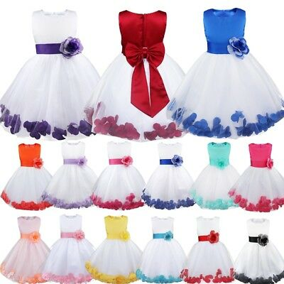 UK Petals Kids Baby Princess Bridesmaid Flower Girl Dresses Wedding Formal Party