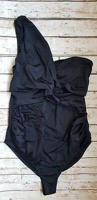 New Ex Branded Maternity Gathered One Shoulder Swimsuit in Black Swimwear
