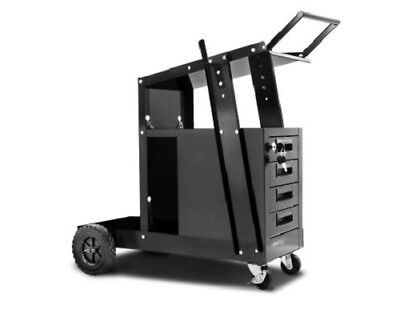 Welding Trolley 4 Drawer Tools Storage Lockable w/ Two Cylinder Chains -  Black