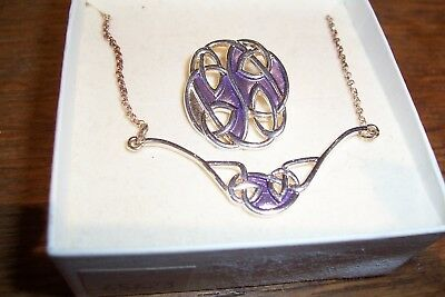 Vintage Past Times silver  & enamel  brooch with pendant, Celtic style BNIB