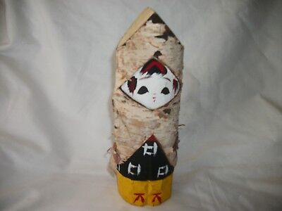 One Vintage Japanese Signed Birchwood Carved Wooden Doll Figure  ( See Photo's)