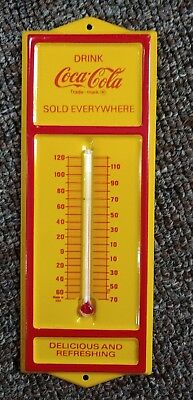 Vintage COCA-COLA Small Metal Wall THERMOMETER.....MINT CONDITION!