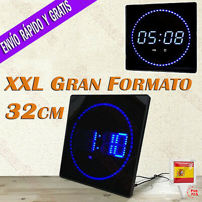 Reloj LED de Pared Digital Extra Grande 32x32cm Temperatura Calendario Oficina