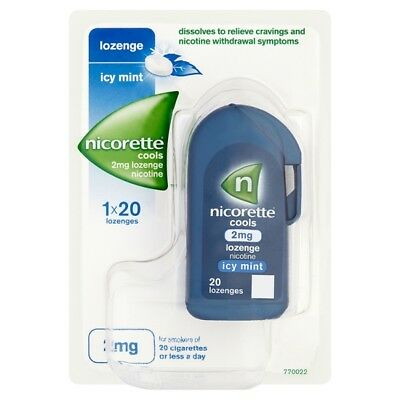1 x 20 Nicorette Cools 2mg Icy Mint Lozenges Stop Smoking Aid exp 04/20