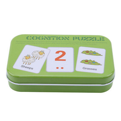 Baby Kids Cognition Puzzle Toys Toddler Iron Box Cards Matching Learning Game 6A