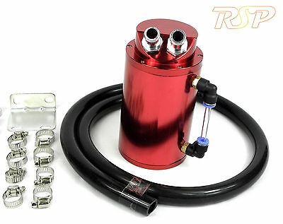 Red Universal Aluminum Oil Catch Tank / Can 15mm Inlets Black 13mm Hose