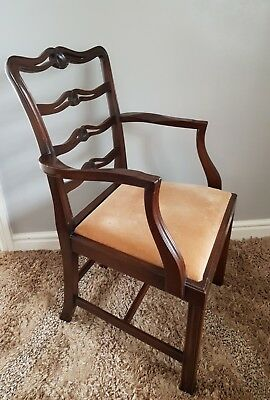 Georgian Armchair, Antique Mahogany Elbow Chair, Chippendale Back, Old Furniture