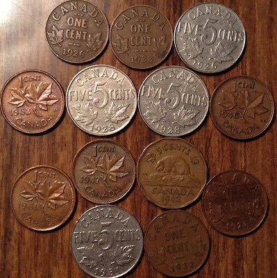 Lot Of 13 Canada Small Cents And 5 Cents Including Both 1926 Key Coin