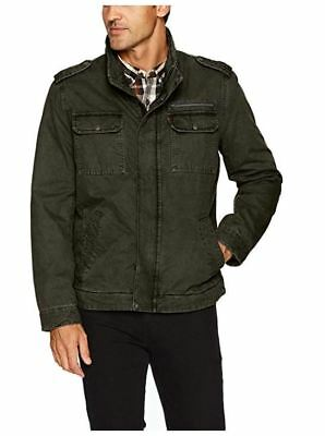 NEW Levi's Men's Washed Cotton Two Pocket Military Jacket, Olive, Small $180